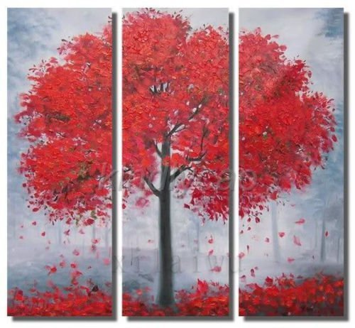 hand-painted  wall art canvas  paint Autumn red street trees home decor Landscape oil painting on canvas 3pcs/set mixorde