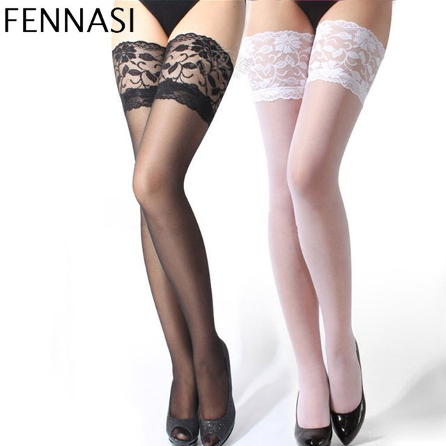 FENNASI Women's Lace Top Sexy Stockings Floral Thigh High Nylon Stockings Transparent Female Erotic Stockings Over Knee Socks