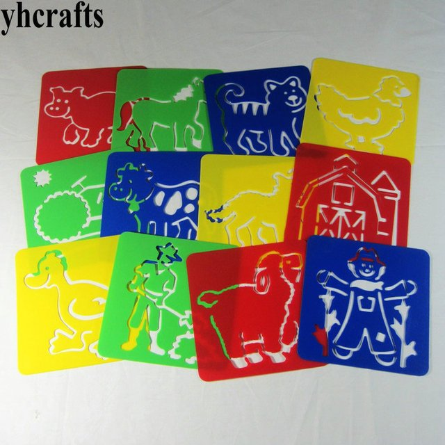 12PCS/LOT.Farm work cow stencil  Paint template Toy for children Kindergarten supplies arts and crafts Creative DIY Gifts favor