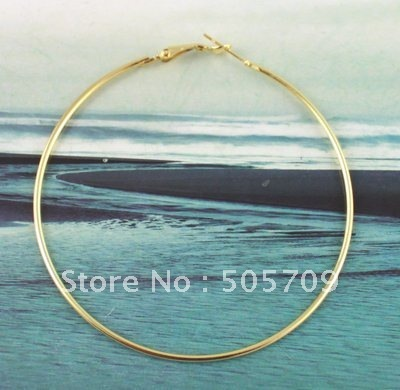 150 PCS  Gold Color plate earring hoop 70mm #20588