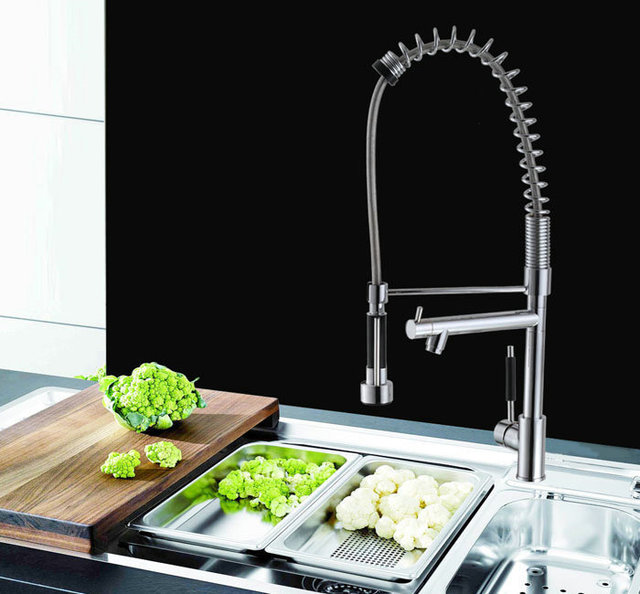 BECOLA New kitchen faucet Ceramic valve core Pure copper faucet Double outlet and Smoked pull the tap1p/lot CH-8805