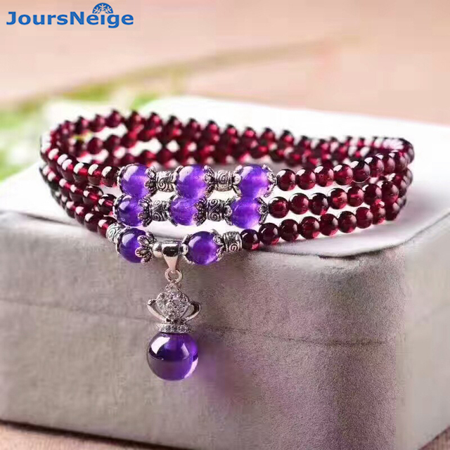 Wholesale Red Wine Natural Garnet Stone Bracelets Bead With Purple Pendant Lucky for Women Girl Gift Crystal Bracelet Jewelry