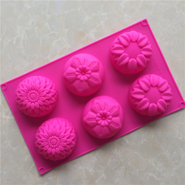 New Sale 6 Holes Different Flowers Ice Chocolate Making Tools Silicone Cake Mold Candy Jelly Soap Modeling Mould