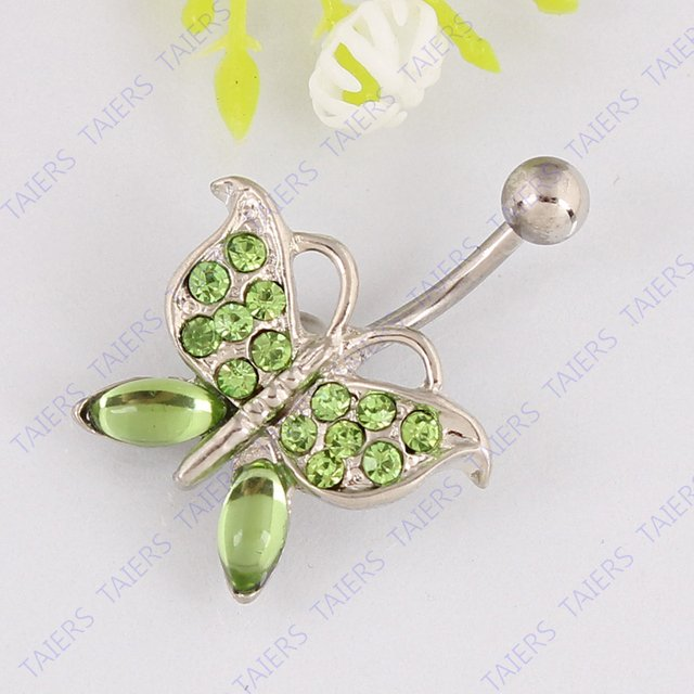 Butterfly belly ring navel jewelry body piercing 14G 316L surgical steel bar belly button ring Fashion woman Nickel-free