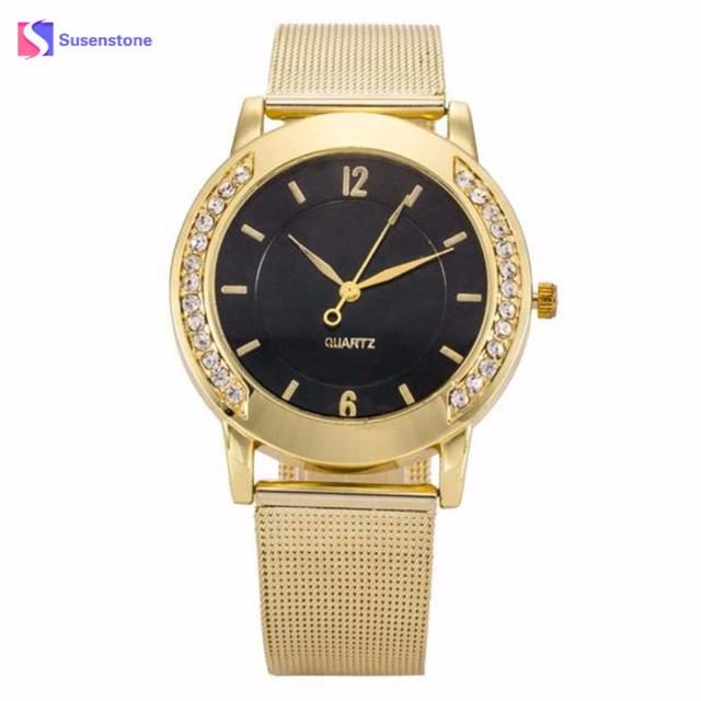 Women Luxury Rinestone Quartz-Watch Wristwatches Crystal Golden Stainless Steel Analog Quartz Wrist Watch Clock For Female Gift