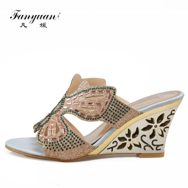 Fanyuan New Arrival African women shoes Synthetic Custom Made Footwear Wedges Heels Butterfly Crystal Ladies Stilettos Slippers