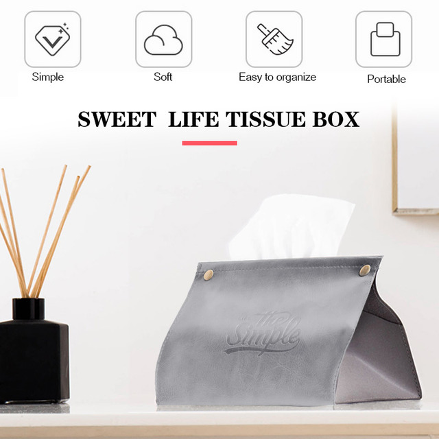 PU Leather Tissue Box Car Paper Napkin Ring Bathroom Creative Tissue Box Covers Storage Bag Desktop Tissue Bag Restaurant