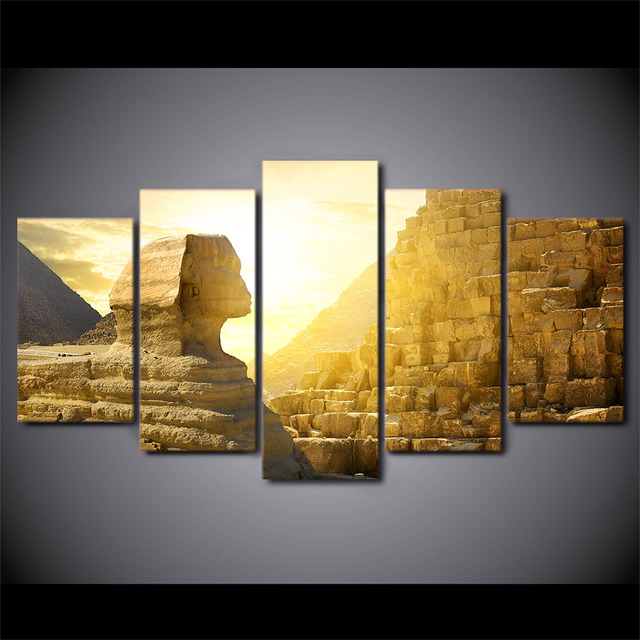 5 Pcs Sunset Egypt Pyramid Canvas HD Printed Poster Frame Painting Modular Wall Art Pictures Living Room Quadri Moderni Su Tela