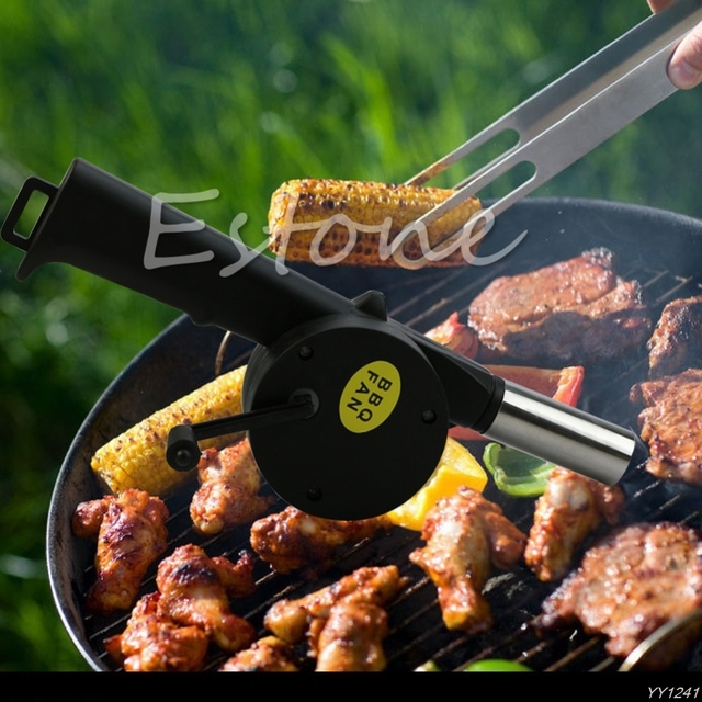 2015Newest 1pc New BBQ Fan Hand Fan Cranked Outdoor Picnic Camping BBQ Blower Barbecue Fire Y110-Dropshipping