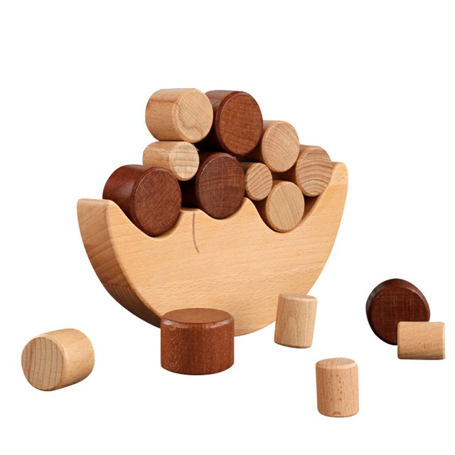 Children's wooden toys wood color moon balance building blocks Montessori early education toys children balance stack high game