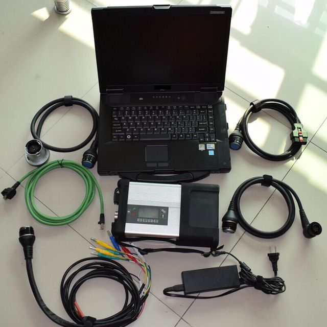2020 mb sd connect c5 ssd newest software with laptop toughbook cf52 all cables full set diagnose tool for 12v 24v ready to use