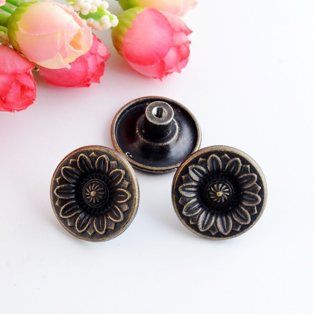 Free Shipping 4PCs Jewelry Wooden Box Pull Handle Dresser Drawer For Cabinet Door Round Antique Bronze 26x12mm F1015