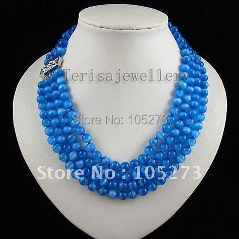 Beautiful!4rows AA 8MM blue color cat's eye stone necklace 18''-20''inch fashion woman's jewelry necklace free shipping A2527
