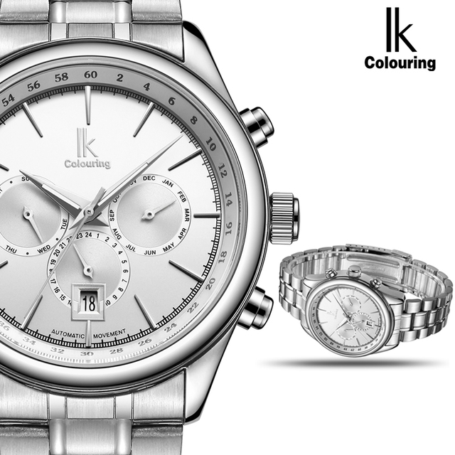 IK Automatic Mechanical Brand Man Watch Mens 24 Hours Calendar Luminous Silver Full Steel Watches Fashion Simple Casual relojes