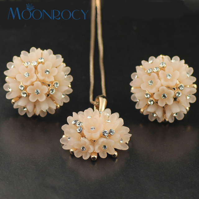 MOONROCY CZ Crystal Necklace and Earrings Jewelry Set Rose Gold Color Flower Jewelry Set Wholesale Fashion Drop Shipping Gift