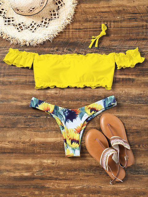 ZAFUL Off Shoulder Sunflower Bikini Swimwear Bathing Suit Push Up Women Swimming Suits Biquini Beach Wear Maillot De Bain Femme