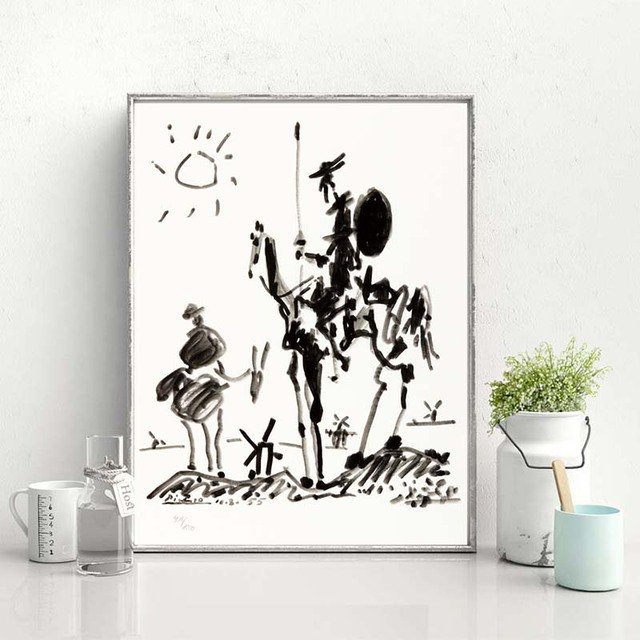 Don Quixote By Pablo Picasso Minimalist Wall Art Canvas Poster Print Canvas Painting Decorative Picture For Bedroom Home Decor
