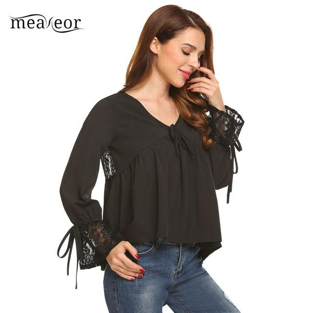Meaneor Fashion Women Tops V-Neck Flare Sleeve Women Blouse Shirts Lace Patchwork Casual Summer Autumn Blouse Loose Female Shirt