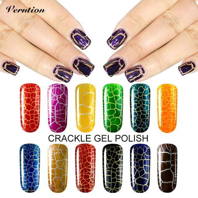Verntion 12 Colorful Lucky Gel Nails Polish Pigment Crack UV Nail Lacquer Professional Cracking Nail Varnish Crackle Shatter