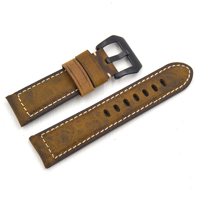 24 26mm Handmade High Quality Vintage Italy Calf Leather Straps Watchband for Omega Panerai Wristband for branded watch Bracelet