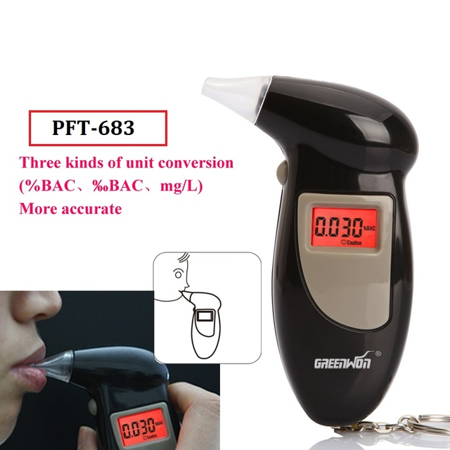 2pcs/  2019 Free shippingBlue Backright Digital Alcohol Tester 3 Digits LCD display, Used mouthpiece Breathalyzer
