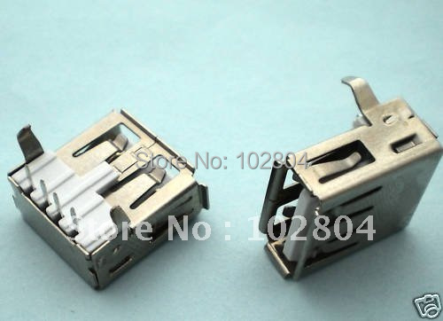 1000 Pcs Per Lot 4 Pin 90 Degree USB  Jack Female Connector, for PC Use High Quality Hot Sale