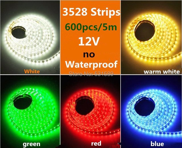 DHL Wholesale 50M/LOTSMD3528 600led 5M warm white/cool white/blue/green/red LED Strip SMD Flexible light 120led/m no waterproof