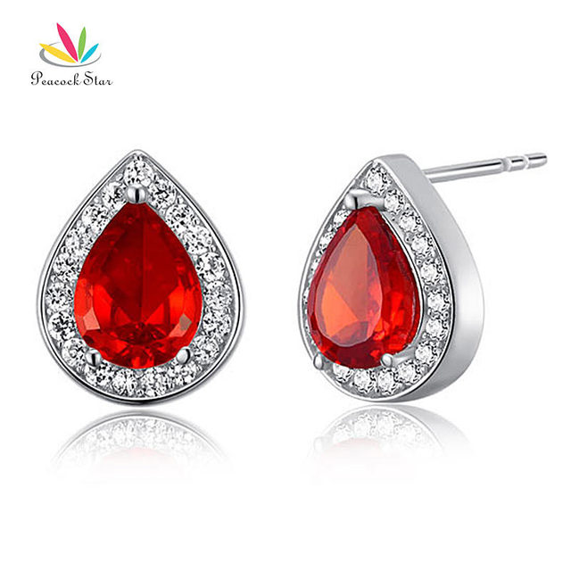 Peacock Star 1 Carat Pear Red Solid 925 Sterling Silver Stud Earrings Jewelry CFE8034