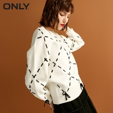 ONLY  womens' winter new loose rope lace knit sweater Trendy diamond lattice Tie-up design|118324560