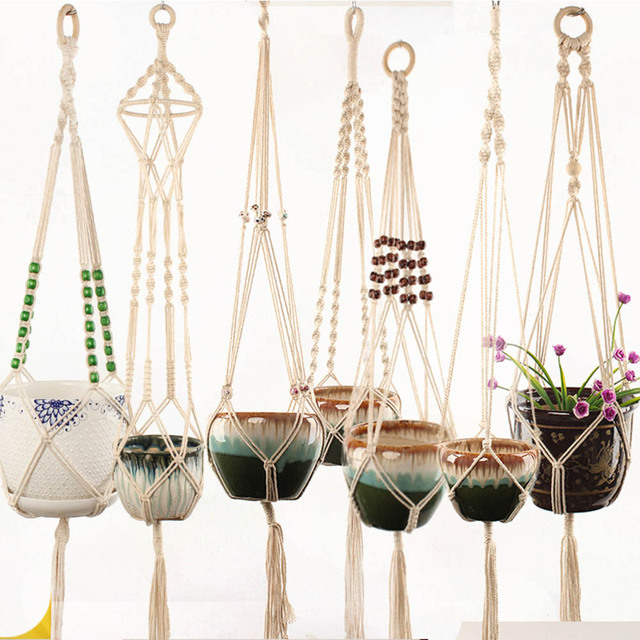Hot Sales 100% Handmade Macrame Plant Hanger Basket Flower /Pot Hanger For Wall Decoration Countyard Home Garden Decor