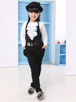 Retail Girls Clothing Set 2 pcs Cotton Suspenders & Long Sleeve White Ruffles T-Shirt for Children Spring Fall 2018 Black Brown