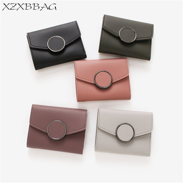 XZXBBAG Women Fashion Short Wallet Female Hasp PU Leather Small Wallet Girl Money Bag Students Three Folds More Screens Purse
