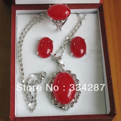 Fine Red stone  pendant necklace earrings Ring sets