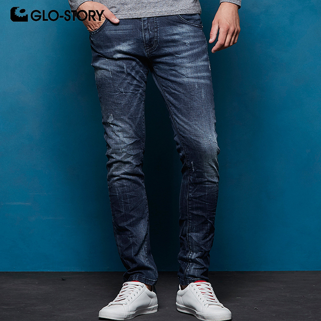 GLO-STORY European Size High Street 2018 Autumn Winter Men's Distressed Pleated Jeans Male Denim Pencil Pants MNK-7693