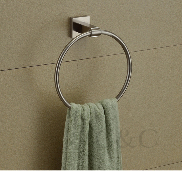 Brushed 304 Stainless Steel Bathroom Towel Rings - Free Shipping YS-2009