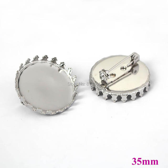 35mm Blank Brooches Bases Round Crown Bezel Tray Back Pins Brooch Settings Cabochon Brooches Findings Rhodium tone Plated