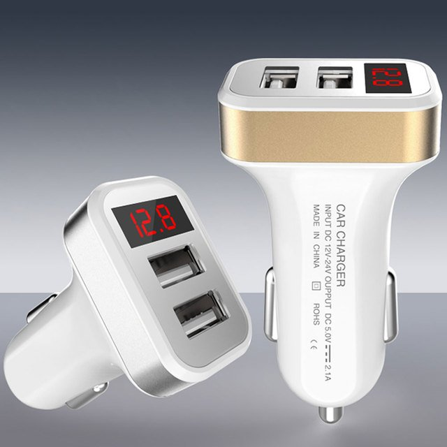 Car Cigarette Lighter Plug Power Dual USB Power Adapter With Display Screen