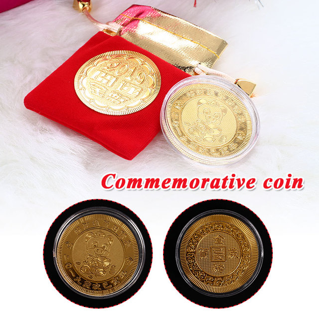 Gold Paper Specie Beautiful Pig Commemorative Coin Happy New Year Souvenirs for Souvenir Coin Chinese Zodiac for Decoration