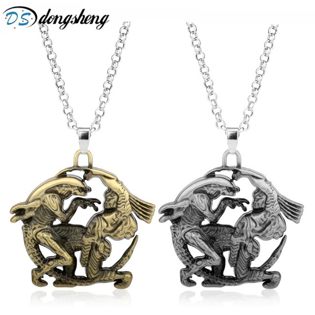 dongsheng Movie AVP Alien Covenant  Pendant Necklace Vintage Metal Jewelry High Quality Charms Pendants Link Chain Necklace -30