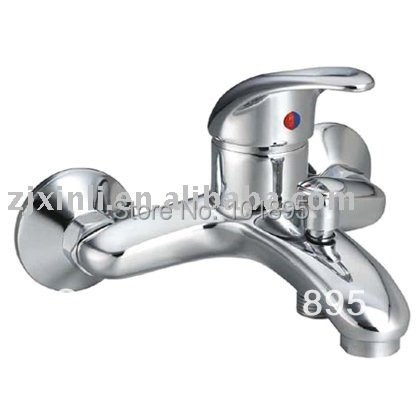 Luxury Brass Bath Faucet Wall Mounted Exposed Bath Mixer Chrome Finish Bath Tap