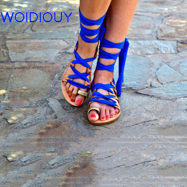 Women Sandals Lace up Royal blue Tie Up Leather Gladiator Sandals Women Casual Summer Shoes Female Flat Sandals Beach Shoes