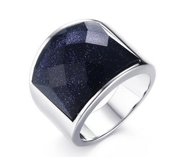 Top Selling Pure stainless steel Smooth Blue sandstone Stone Men's Ring 8-12# Nice Gifts