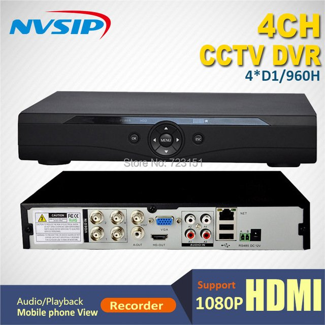 4CH D1/960H Real-time recording CCTV network DVR Support 4CH D1 playback Audio NVSIP DVR1004Z standalone DVR