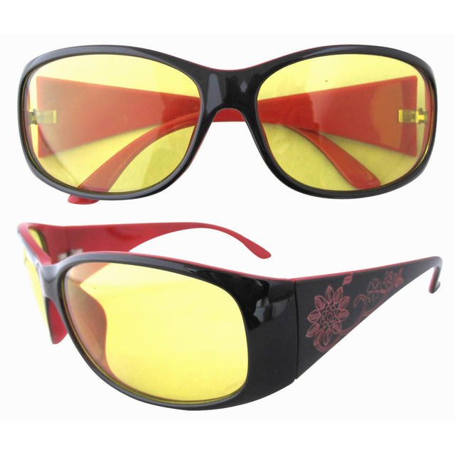 8018 Plastic Frame Floral Arms Yellow Lenses Night Driving Sunglasses For Women