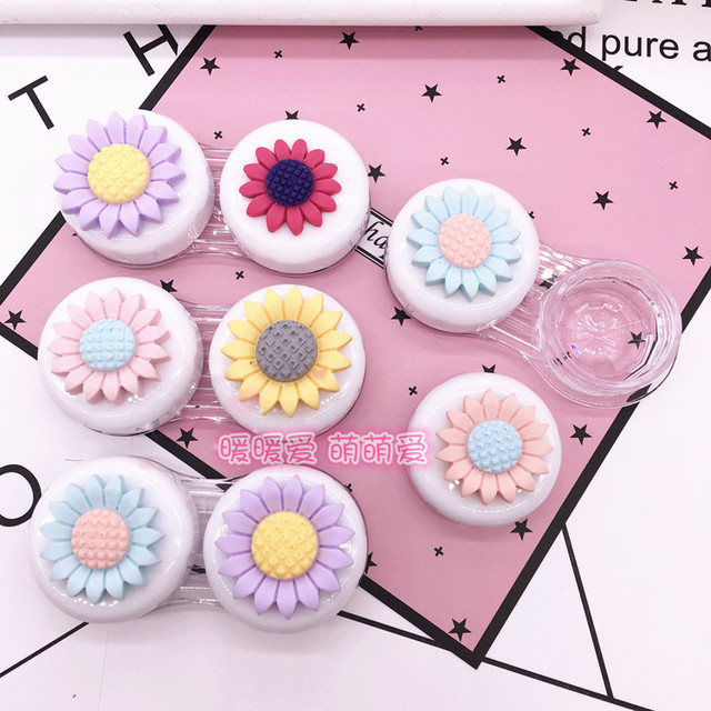 LIUSVENTINA DIY resin color flower double US-pupil storage box contact lens case for eyes contact lenses box for glasses