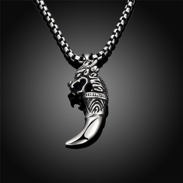 Fashion Vintage Male Animal Pendant Necklace Silver Color Black Stainless Steel Wolf Pendant Jewelry For Men choker necklace