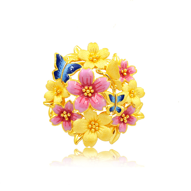 New Arrival 24K Yellow Gold Pendant Women Colourful Flower Butterfly Necklace Pendant 8.29g