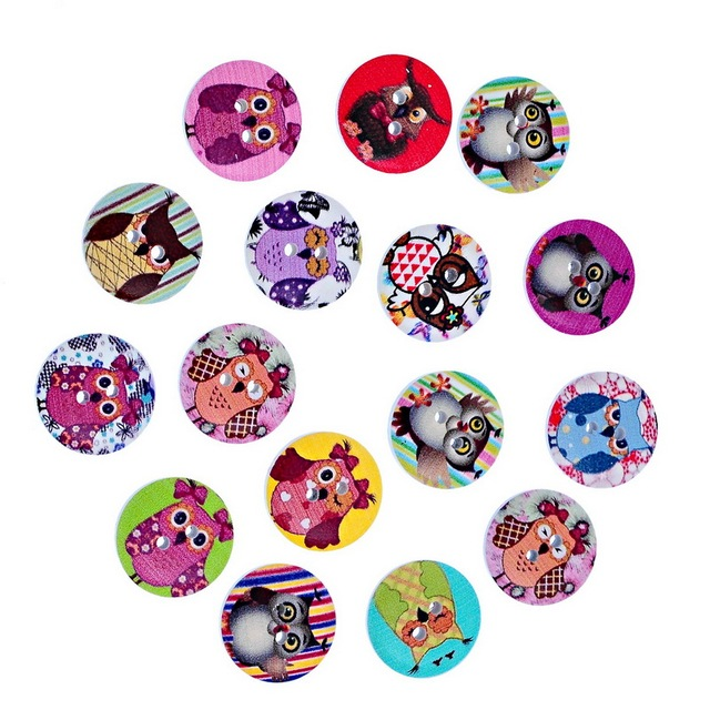 100Pcs Mixed Owls Pattern Wooden Buttons Round 2 Holes Fit Sewing Craft Wood Scrapbooking 20mm