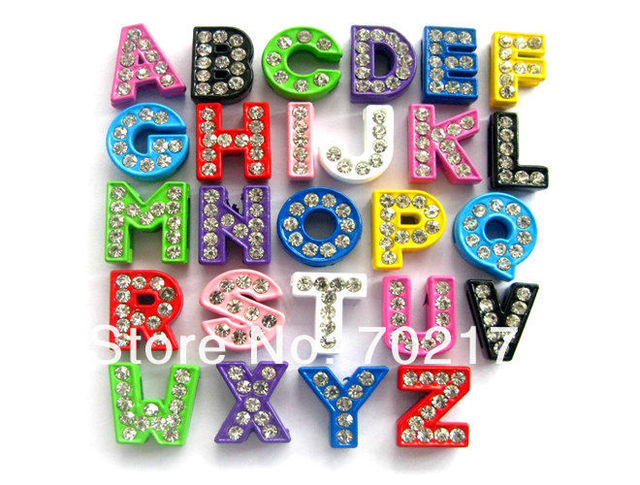 Free ship Wholesale 1300pcs 8mm Mix Color Painting letters Slide Letters DIY Accessories Internal Dia.8mm Can through 8mm band