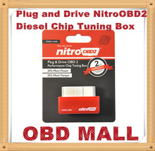 2015 Free Shipping NitroOBD2 Diesel Car Chip Tuning Box Plug and Drive OBD2 Chip Tuning Box More Power / More Torque